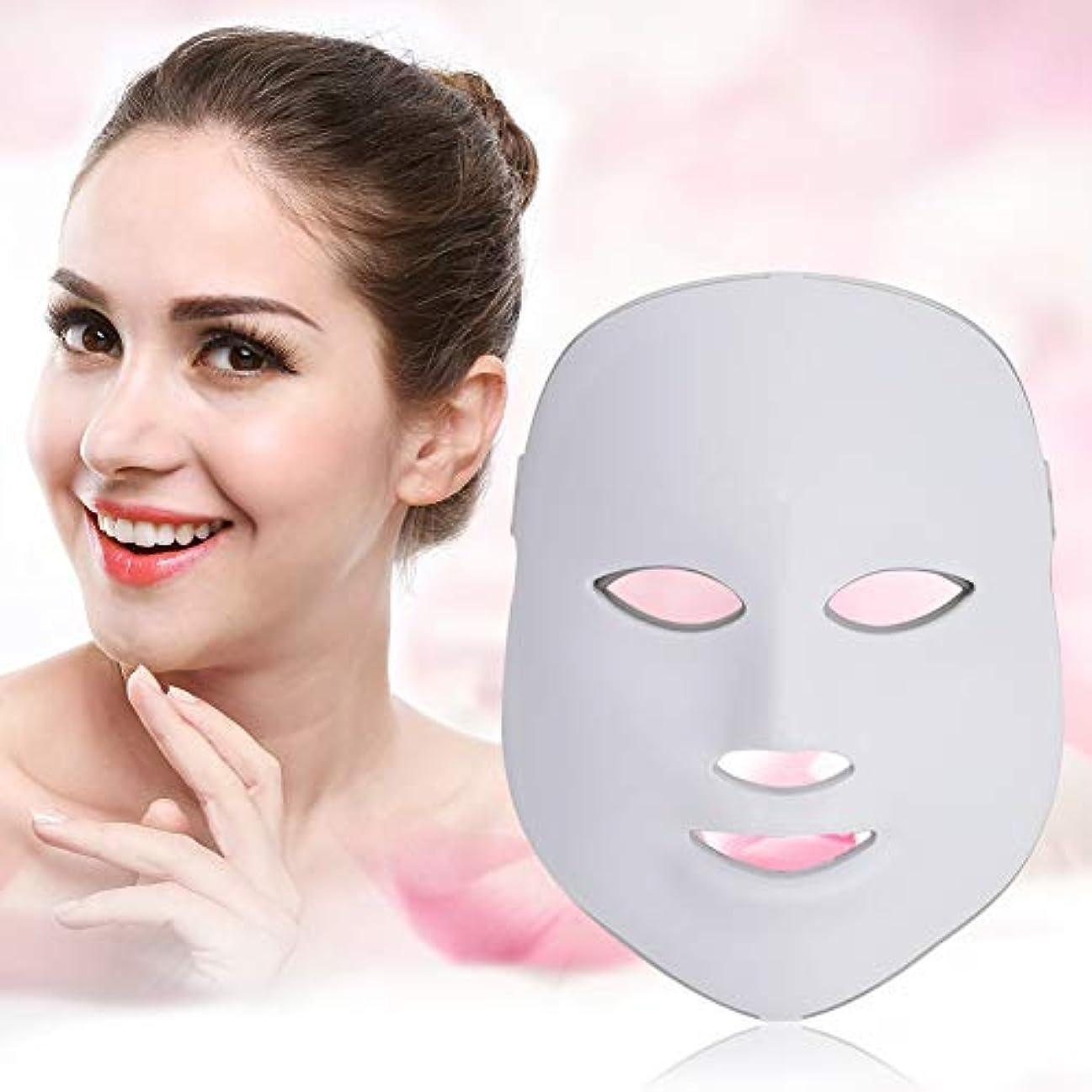 寄り添うフィード叫び声7色Ledフェイスマスク-顔&首光肌若返りスキンケアマスク、しわを改善、引き締め、滑らかな肌(米国のプラグ)