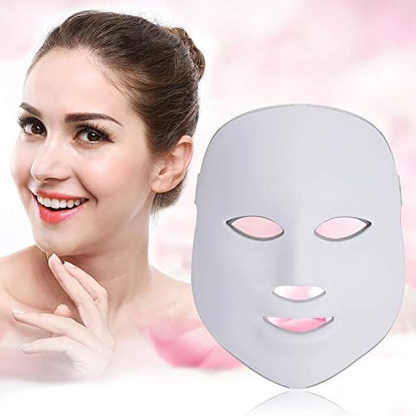 またね横配送7色Ledフェイスマスク-顔&首光肌若返りスキンケアマスク、しわを改善、引き締め、滑らかな肌(米国のプラグ)