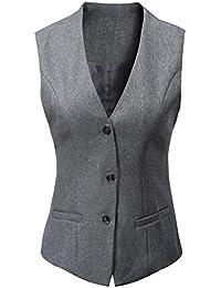 Vocni レディース Vネックフォーマルベスト ノースリーブ 3ボタン 総裏地付き スリムフィット 経済的 正装服