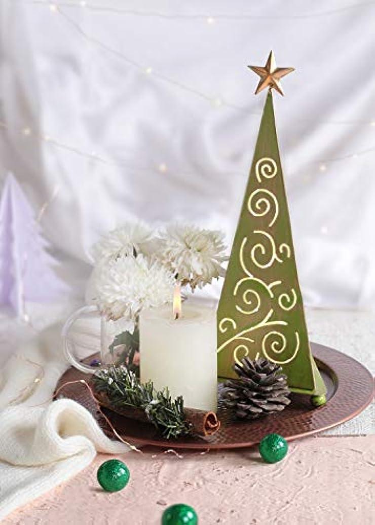 のぞき穴副産物適応するstoreindya 感謝祭ギフト クリスマスツリー型メタルお香タワー グリーンとゴールドのクリスマスホームデコレーション 装飾アクセサリーと新築祝いのギフトに最適