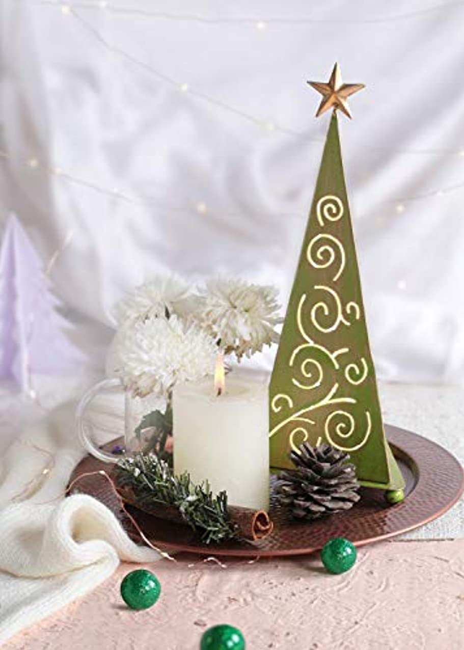 吸収剤マイクロフォンのためstoreindya 感謝祭ギフト クリスマスツリー型メタルお香タワー グリーンとゴールドのクリスマスホームデコレーション 装飾アクセサリーと新築祝いのギフトに最適