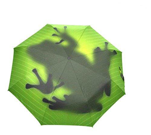HMWR(ヒマワリ) かわいい 可愛い 動物 アニマル柄 蛙 カエル 雑貨 レディース 三つ折り傘 折りたたみ傘 頑丈な8本骨 耐強風 軽量 撥水性 大きい 手動開閉 雨傘 日傘 晴雨兼用 携帯用 かさ (蛙01)