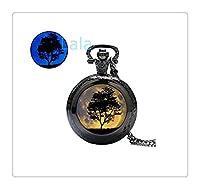ダークウォッチペンダントダーク月と木グローイング懐中時計ネックレスグローイングウォッチジュエリージュエリーグローグローで光ります