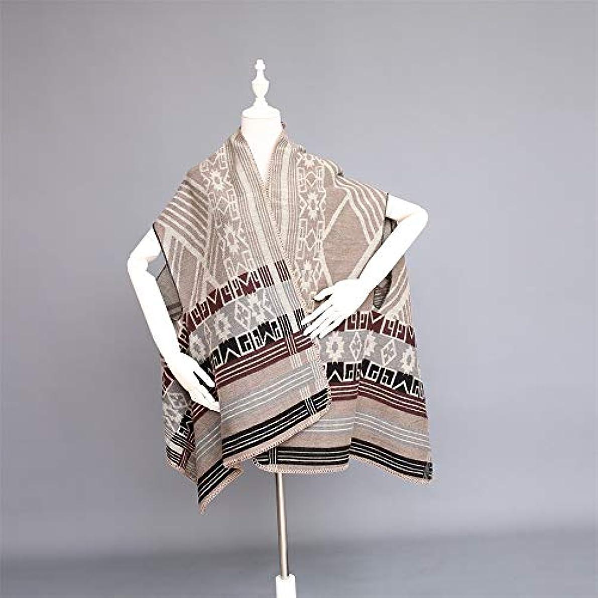 コジオスコ軍アンデス山脈秋と冬暖かいノースリーブスリットショールファッションストライプと女性のための幾何学模様のスカーフ (色 : グレー)