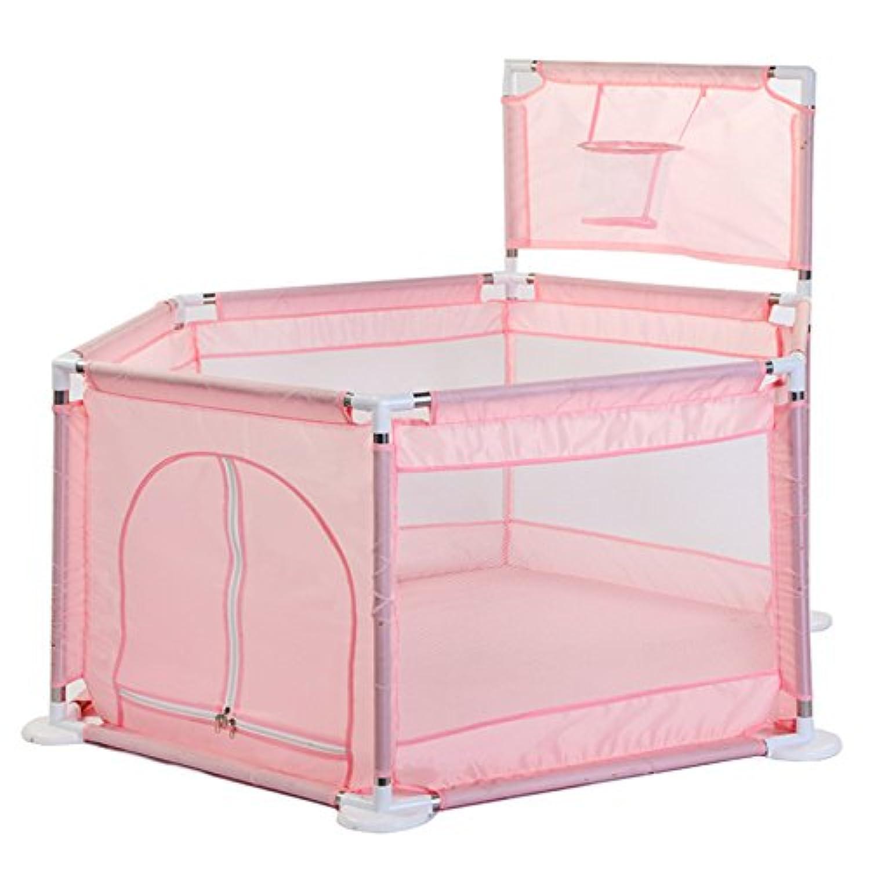 洗える ソフト ベビーサークル 軽量 倒れにくい 安全設計 ファスナー 扉 簡単組み立て <簡単に組み立て!> 収納 六角形 誕生日プレゼント【5色】 (PINK)
