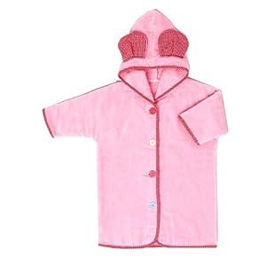 西川産業 babypuff カラフルTeddyバスローブ 90㎝用 ピンク 綿100% LQY7502050-P LQ2050