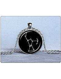 オリオン星座ペンダント黒と白のガラスのネックレス天文学ネックレス星座