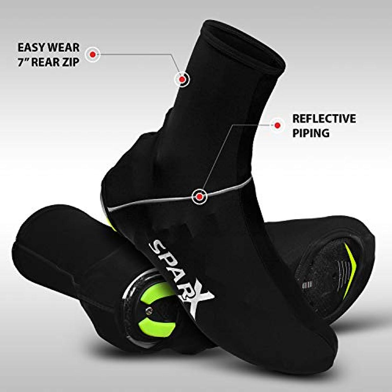 圧縮された施し有効Sparx ライクラ サイクリング 自転車 靴カバー ブーティー オーバーシューズ リアジッパー付き