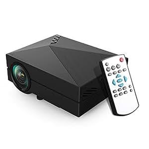 EZAPOR Mini GM60 Led Projector 800*480解像度800ルーメン HD解像度サポート1080×1920 LEDプロジェクターVGA/HDMI/AV/USB/TV対応リモコン付き日本語説明書