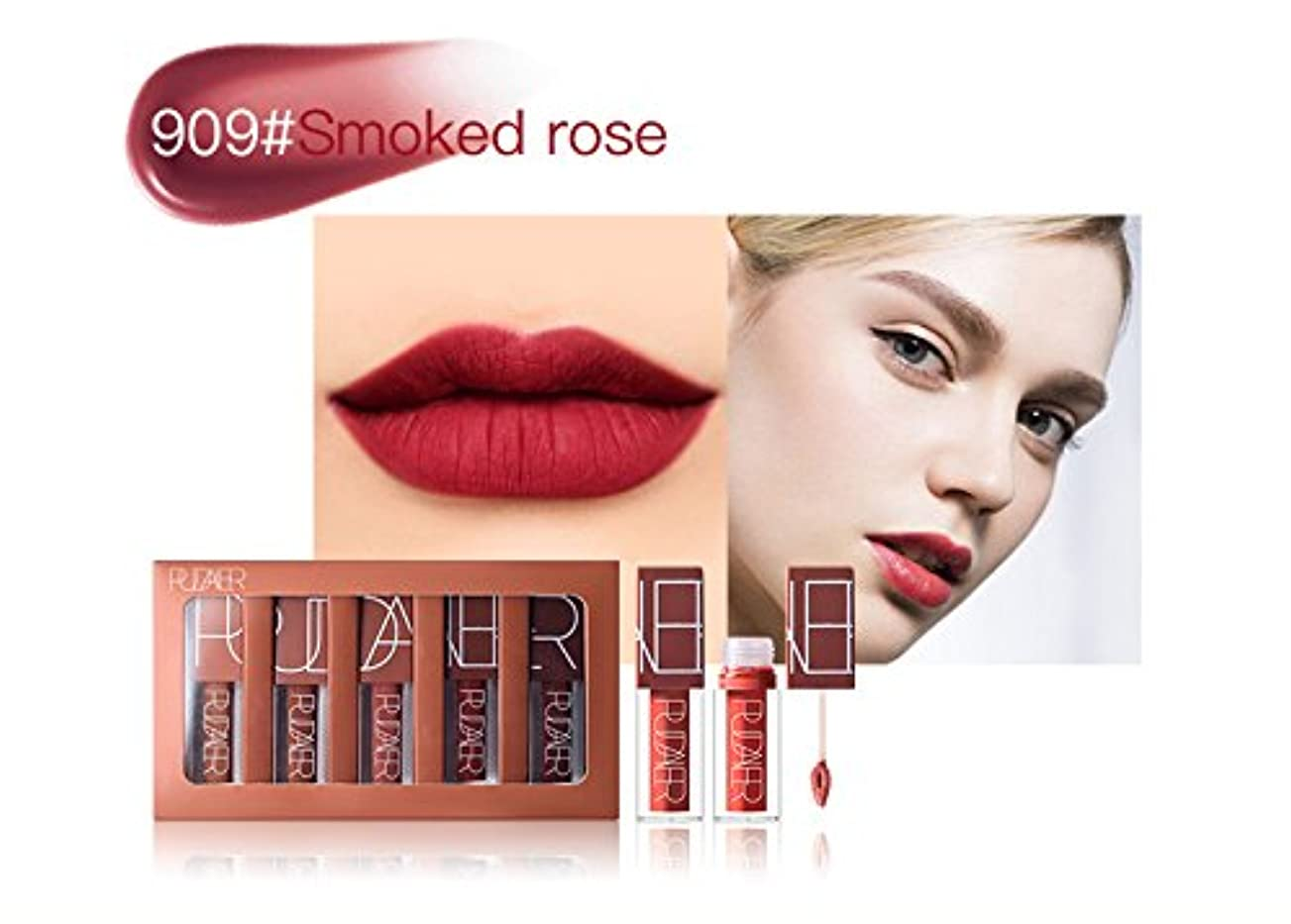 インチ役員モーターNo #909 Hot Brand Long Lasting Velvet Lips Tint Liquid Lipstick Matte Beauty Cosmetics Sexy Nude Pigment Matte...
