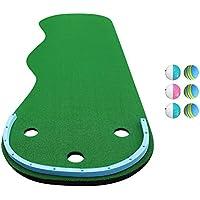 QianDaゴルフパッティンググリーンウェーブシェイプ傾斜マット、3つのトラップホール付きミニゴルフ練習用トレーニング、300 x 97 cm(カラー:A)