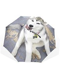 AOMOKI 折り畳み傘 折りたたみ傘 手開き 日傘 三つ折り 梅雨対策 晴雨兼用 UVカット 耐強風 8本骨 男女兼用 ハスキー 犬柄