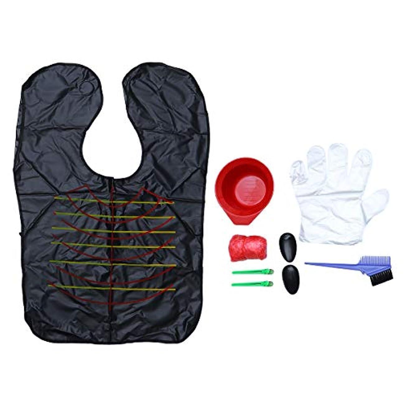 窓を洗うドラマ備品HEALLILY ヘアカラー染色キットヘアダイDIYツールダイブラシミキシングボウルイヤーキャップシャワーキャップ弾性手袋9個(ランダムカラー)