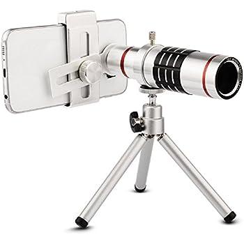 Allucker 携帯望遠レンズ 光学18X スマートフォンレンズ 18X光学ズーム 三脚付き 遠距離撮影 携帯レンズ 望遠レンズ Phone Samsung Galaxyに対応 マクロレンズ 18倍望遠レンズキット 収納ポーチ付き (スマホ 汎用-18X)