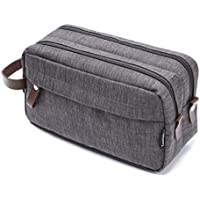 Men's Travel Toiletry Bag Dopp Kit - Dual Compartments with Handle (Taupe Gray)