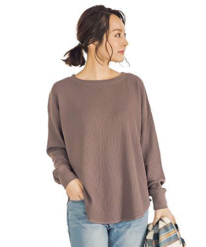 [神戸レタス] ワッフル ボートネック ゆるTシャツ [C4019] レディース 長袖 ワンサイズ モカ