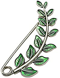 Shinywear Vintage Green Leaf Brooch Pins for Women Crafts Scarf Cardigan Shawl Buckle Hat Sweater Decorative Safety Pin Brooch
