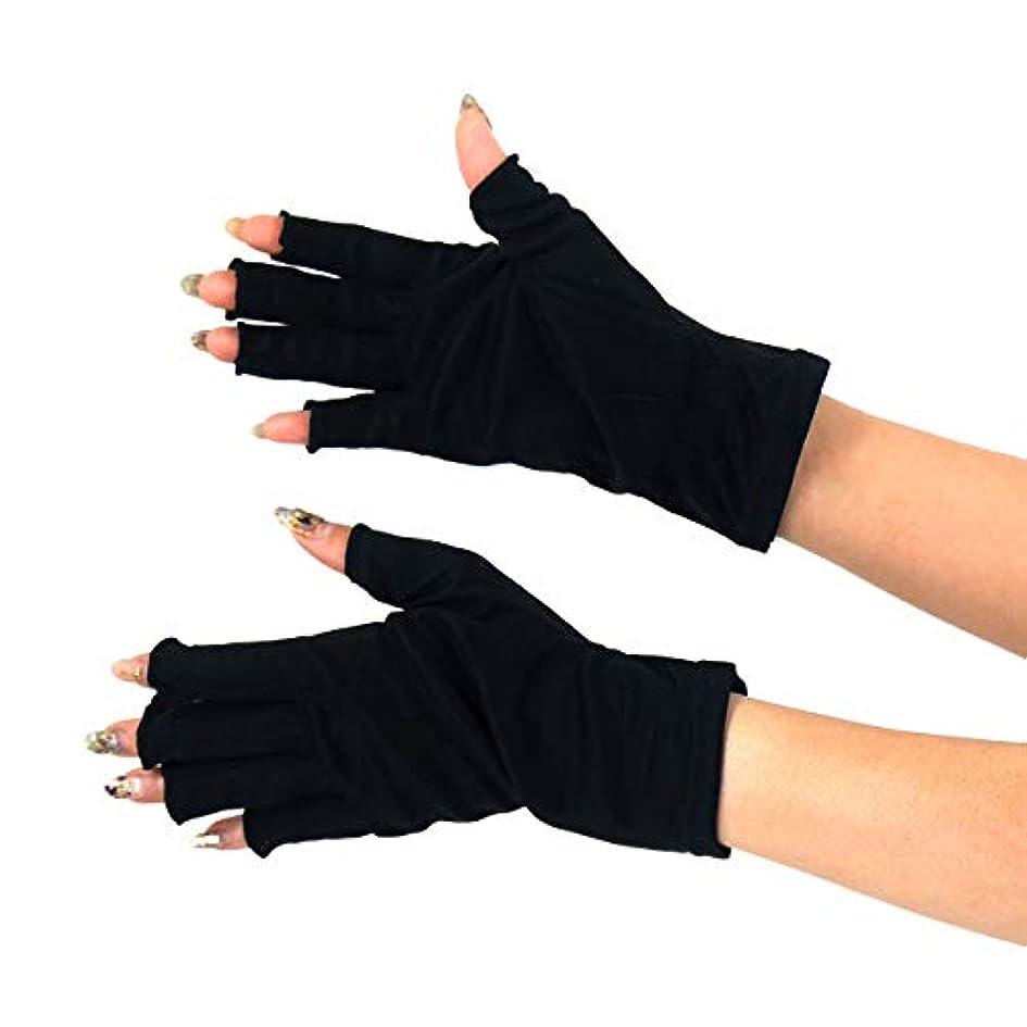推進力描写フィラデルフィア[スリーピングシープ] ひんやり サラサラ シルク100% UV 手袋 ハンドケア UV 手袋 手のお手入れに (M, 指切りブラック)
