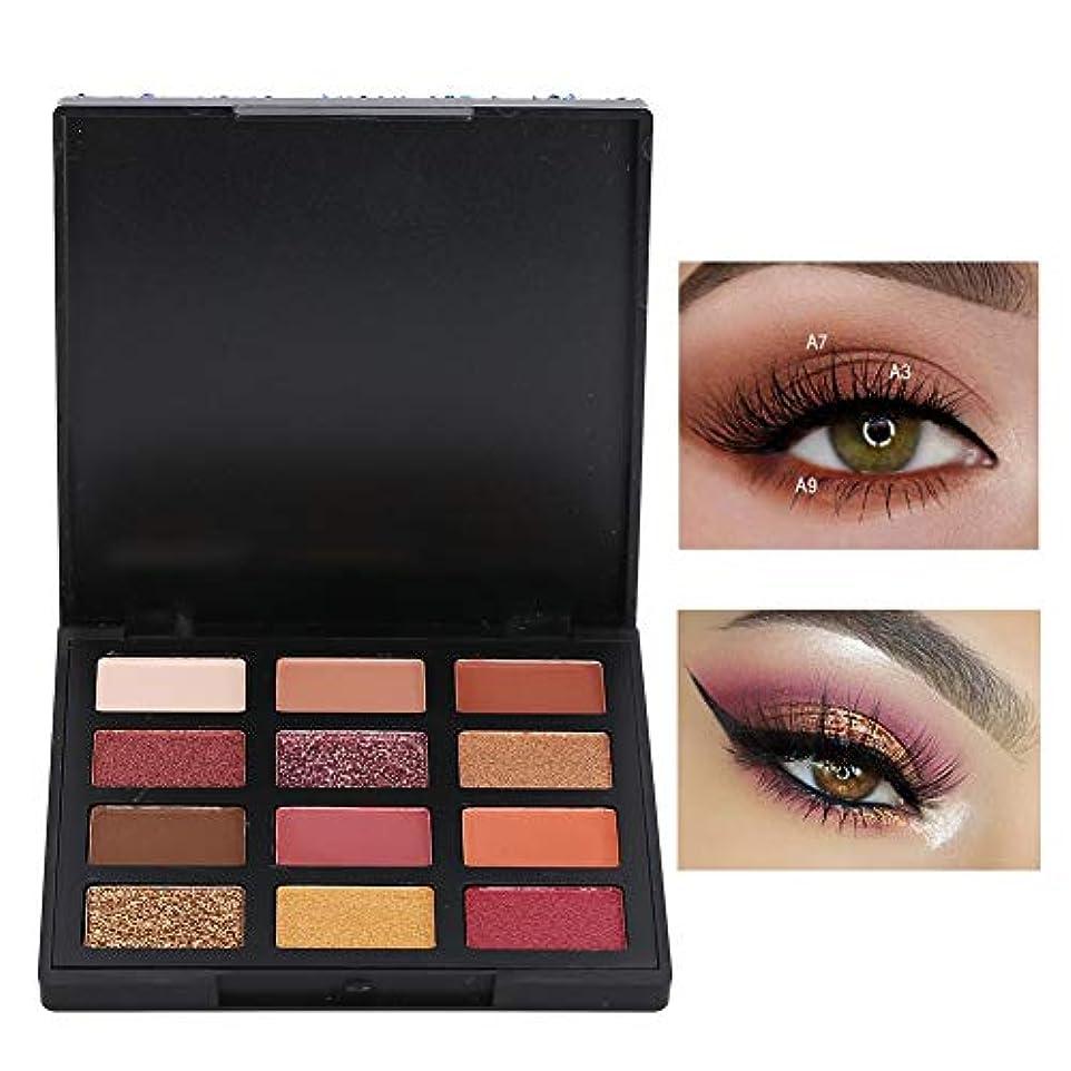 アイシャドウパレット 12色 アイシャドウパレット 化粧マット グロス アイシャドウパウダー 化粧品ツール (01)