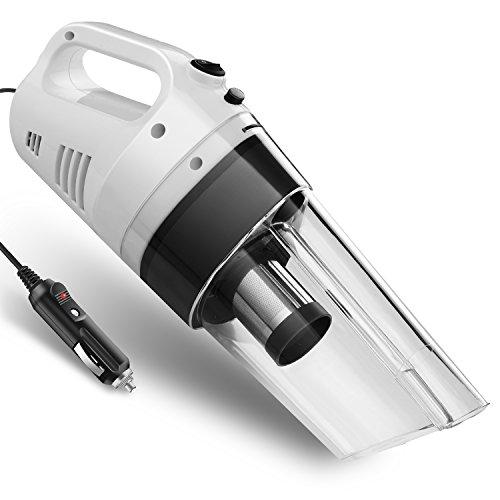 車用掃除機 サイクロン式 カークリーナー 超強力 ハンディクリーナー ステンレス永久フイルター交換不要 DC 12V 白/黒