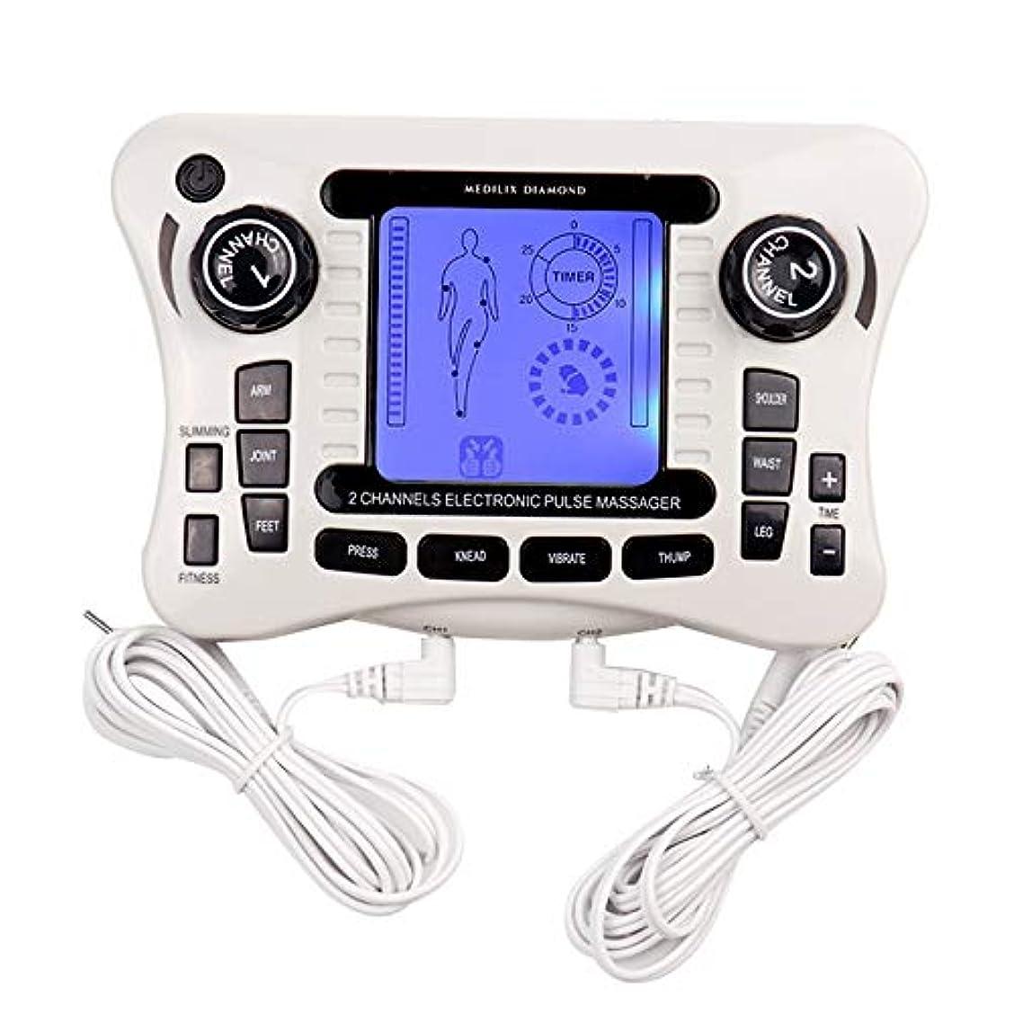 貼り直す数学梨電子パルスマッサージャー/十emsトレーナーボディマッサージャー筋肉刺激装置バックボディネックマッサージデュアルチャンネル療法機