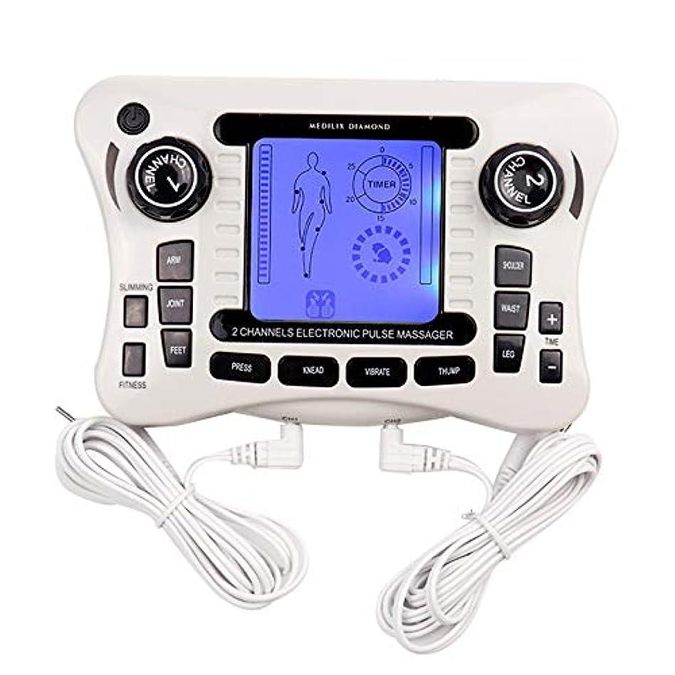 測定可能警告ショット電子パルスマッサージャー/十emsトレーナーボディマッサージャー筋肉刺激装置バックボディネックマッサージデュアルチャンネル療法機