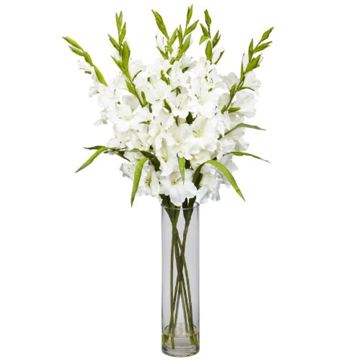 卸売大きなGladiola W /円柱花瓶シルクArrangement、[装飾、シルク花]