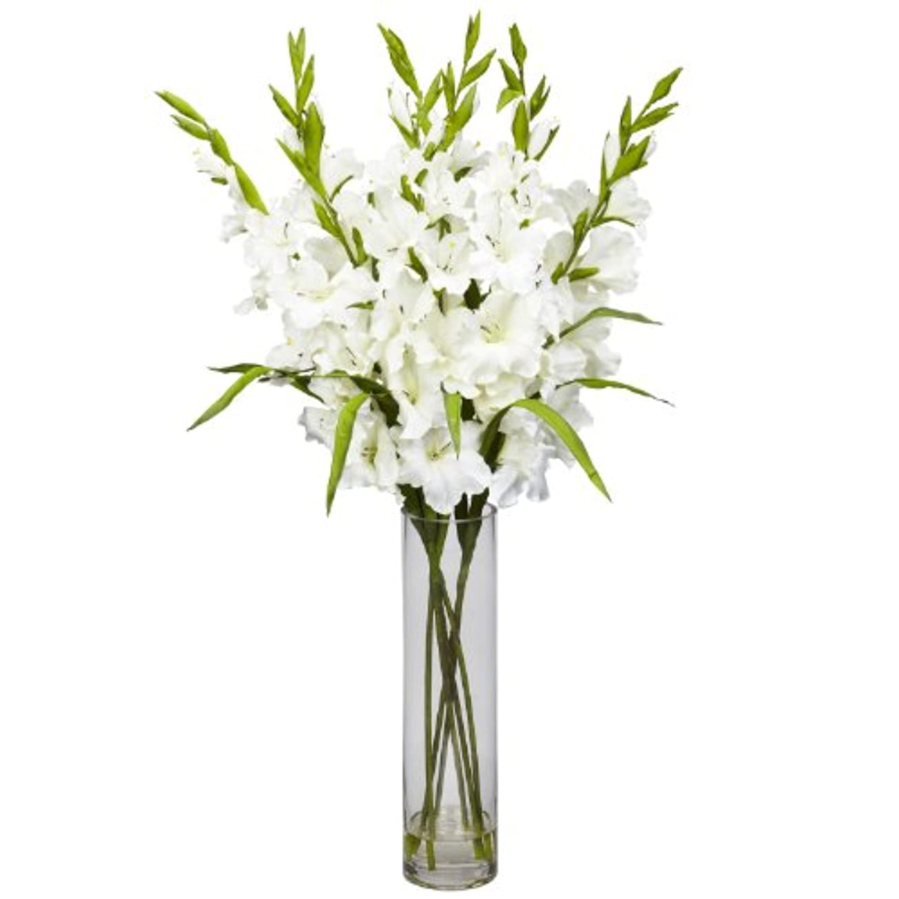 欠乏速記温帯卸売大きなGladiola W /円柱花瓶シルクArrangement、[装飾、シルク花]