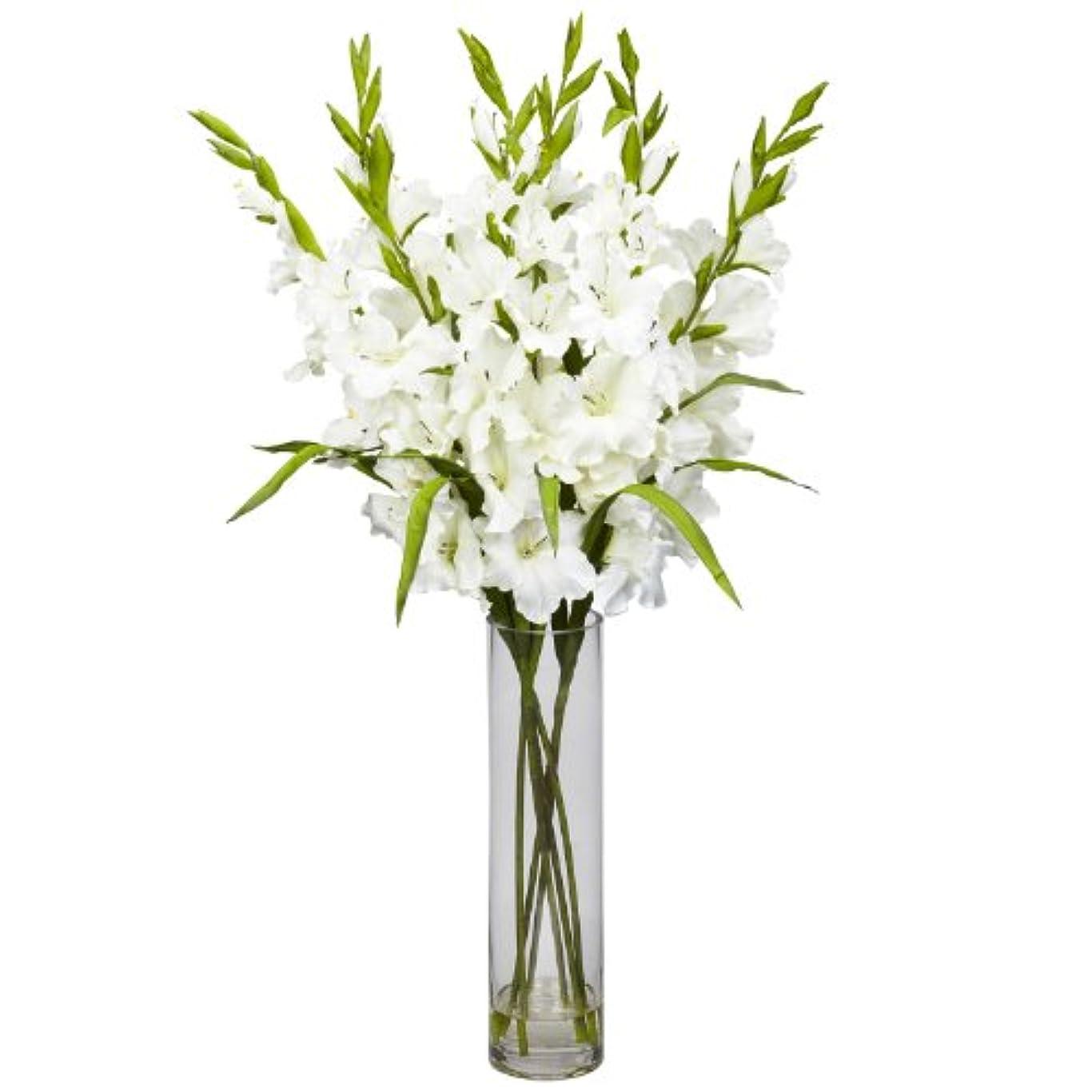 泥散逸熟した卸売大きなGladiola W /円柱花瓶シルクArrangement、[装飾、シルク花]