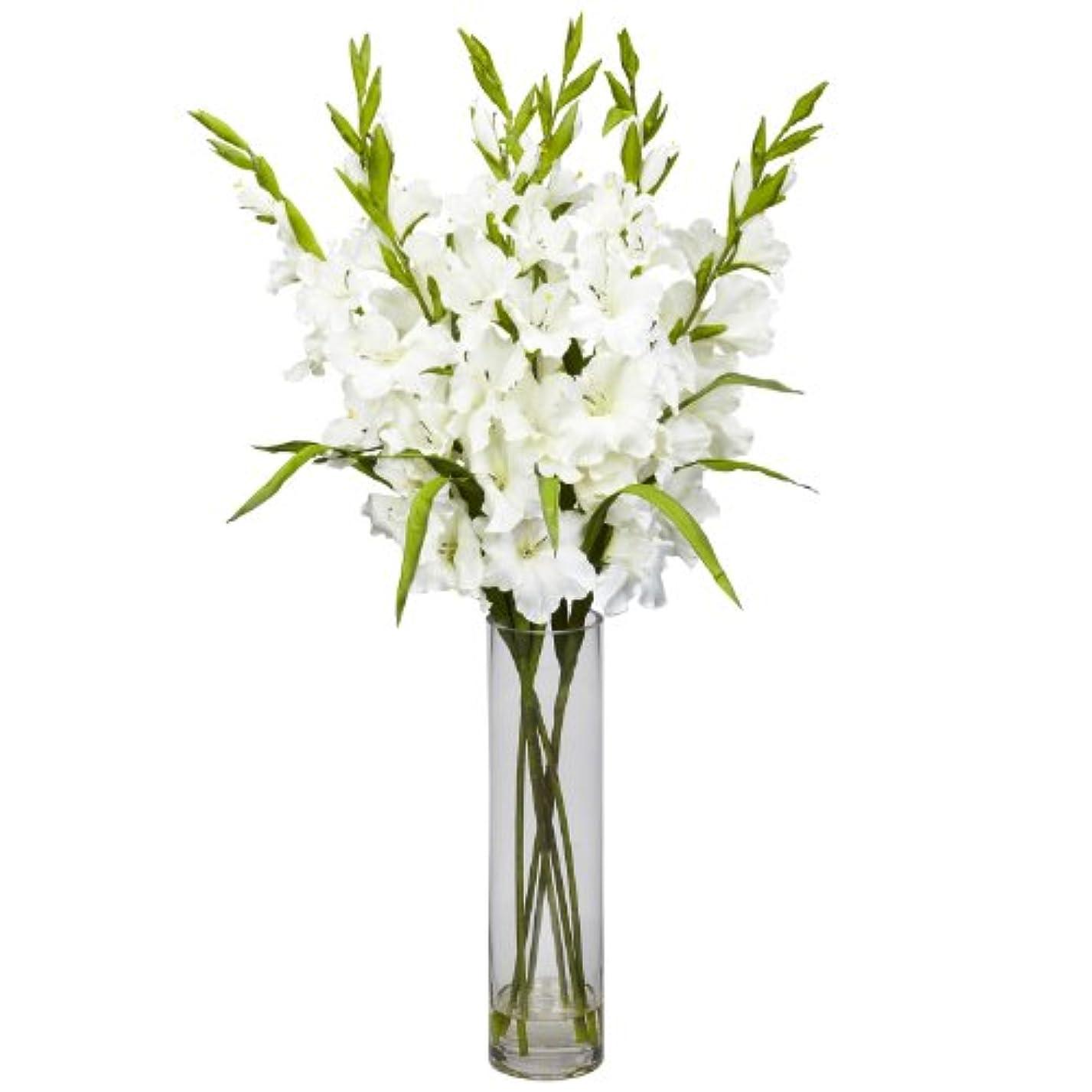 相談する組み合わせ優遇卸売大きなGladiola W /円柱花瓶シルクArrangement、[装飾、シルク花]