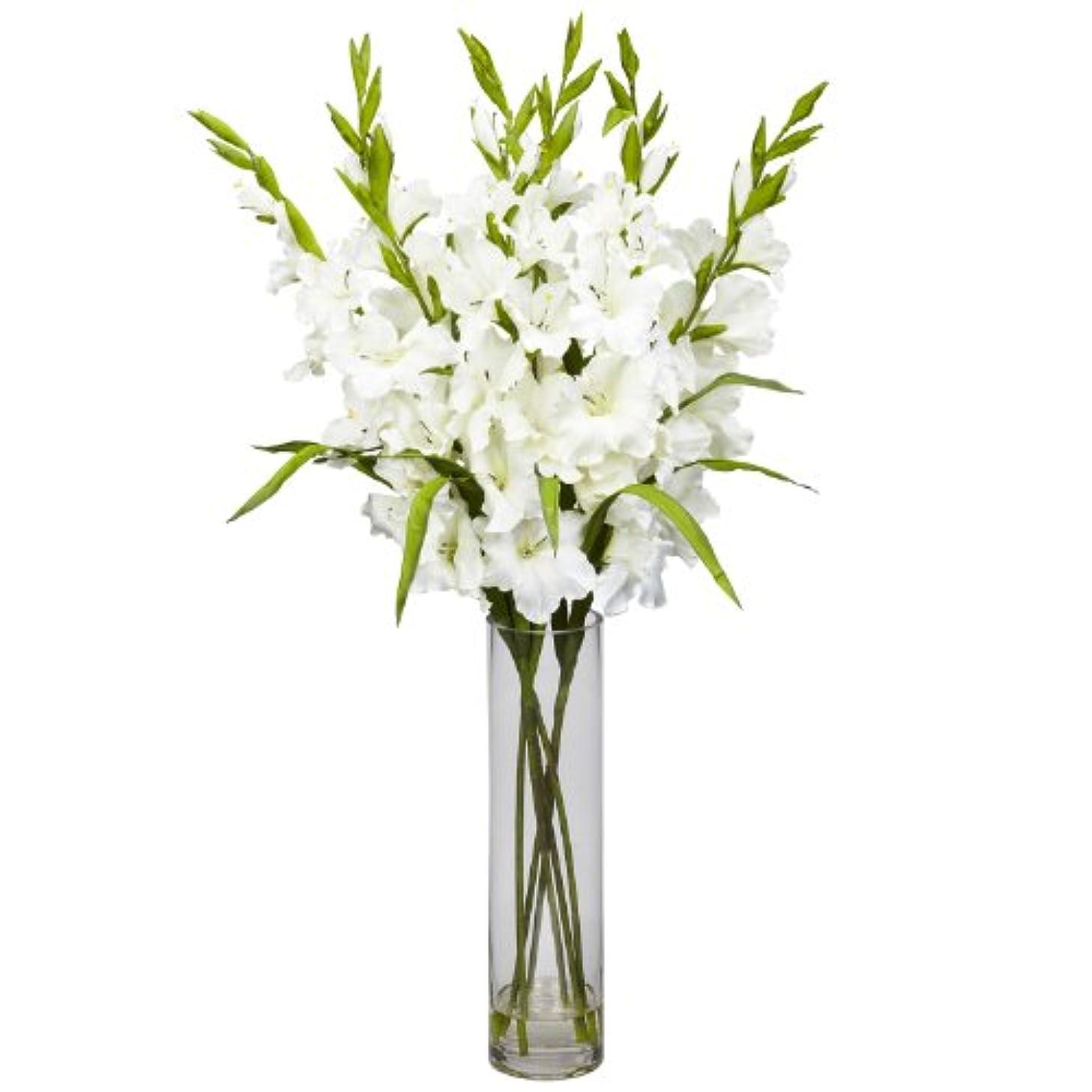 バン割る自然卸売大きなGladiola W /円柱花瓶シルクArrangement、[装飾、シルク花]