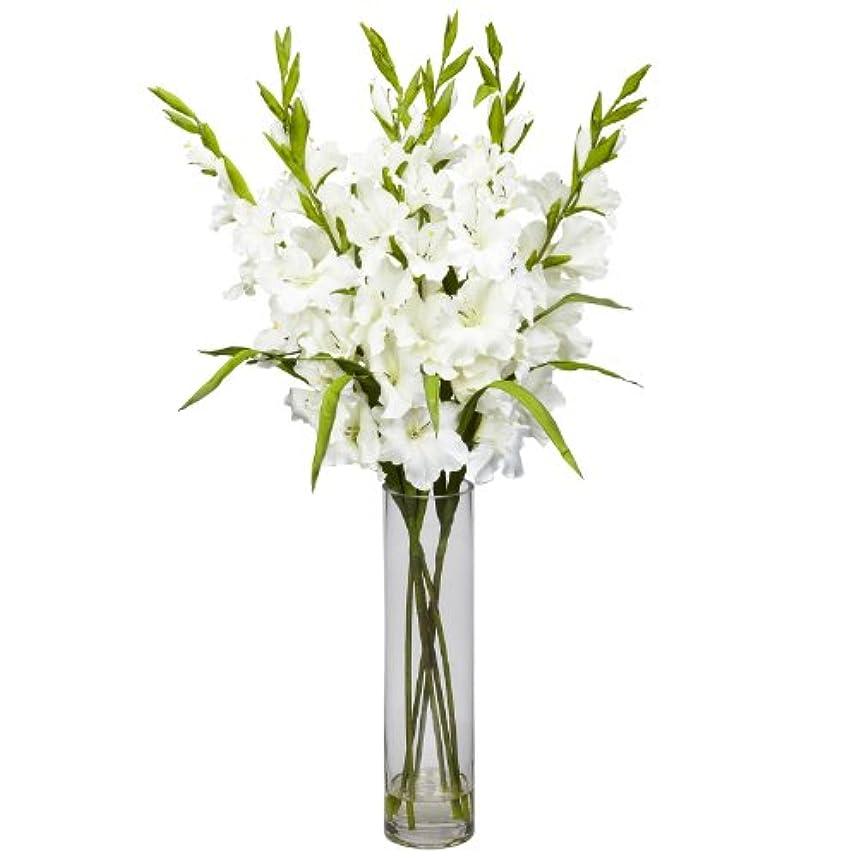 混乱した警報騒々しい卸売大きなGladiola W /円柱花瓶シルクArrangement、[装飾、シルク花]