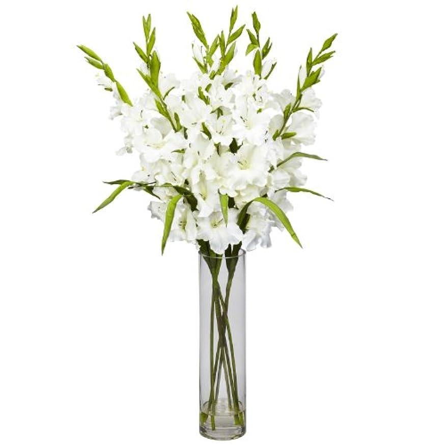 充電聴く咳卸売大きなGladiola W /円柱花瓶シルクArrangement、[装飾、シルク花]