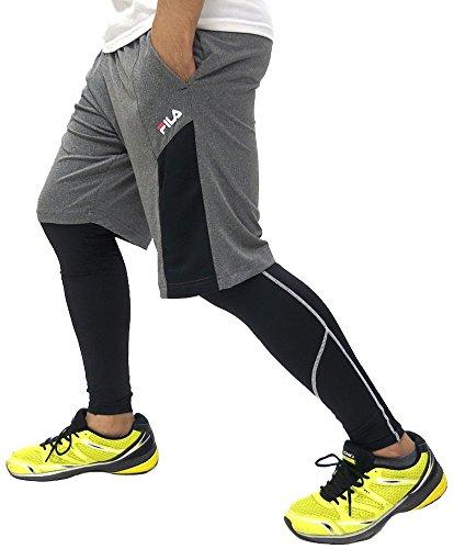 (フィラ) FILA スポーツタイツ ショートパンツ セット スパッツ メンズ ランニング フィットネス ブランド タイツ プラパン スポーツ 3color L ブラック