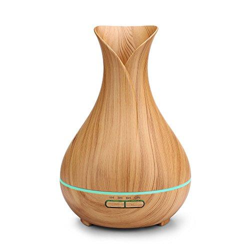 Life-style超音波アロマディフューザー 木目調 おしゃれ花瓶型加湿器 400ml 多色変換LED付き ムードランプ 空焚き防止機能搭載 時間設定 部屋 会社 ヨガなど各場所用