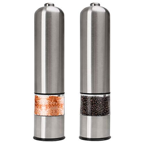 Joyoldelf ペッパーミル 電動 胡椒 花椒 岩塩 ソルト スパイス用 ステンレス 粗さ調節可能 2パック