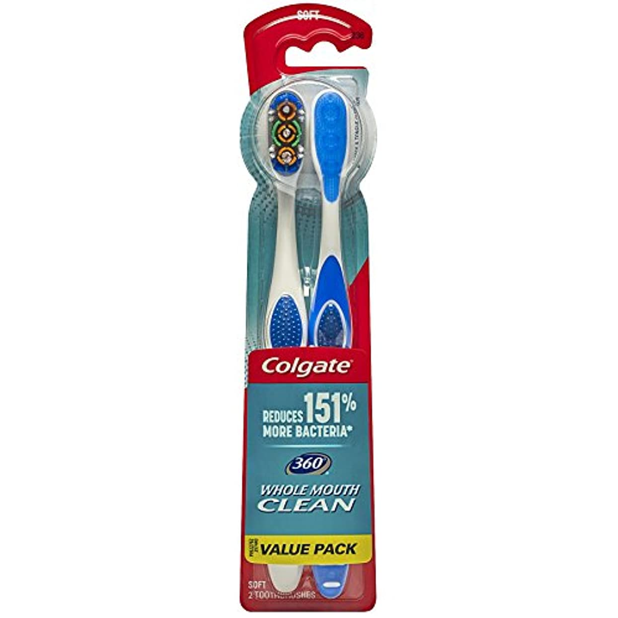 差もろい酸化物Colgate 360大人の完全な頭部柔らかい歯ブラシ、ツインパック