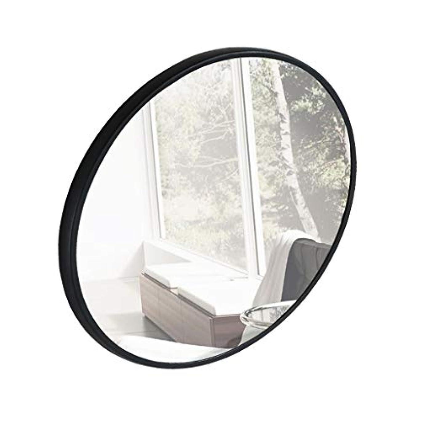 歌詞句読点予言するTYJ-JP 鏡化粧鏡 HD化粧台壁掛け装飾丸型鏡シンプル壁掛け鏡北欧風パンチフリーガラス鏡 (Color : Black, Size : 50*50cm)
