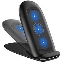 everso 急速ワイヤレス充電器 持ち運び 2in1 折り畳み式 3コイル 置くだけ充電 スタンド iPhone X/XS/ XR/XS 他Qi対応機種 USBケーブル付属