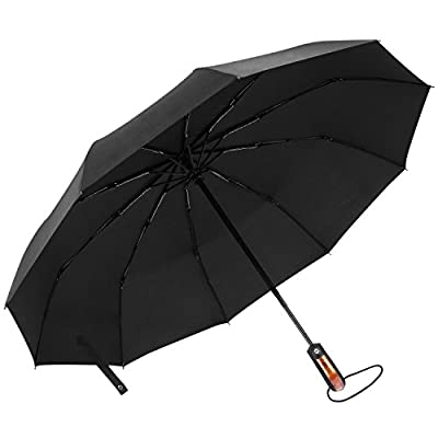 65Mph Windproof Umbrella, AIZBO Automatic Extra Strong Umbrella with Reinforced 10 Ribs, Compact Fast Drying Folding Travel Umbrella, Auto Open/Close and Slip-Proof Handle for Easy Carry, Black