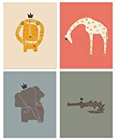 LittleLion Studio Newborn Baby Gift Set Nursery Art Prints Royal Safari 4 Unframed 8x10 Safari Animals (sunset) [並行輸入品]