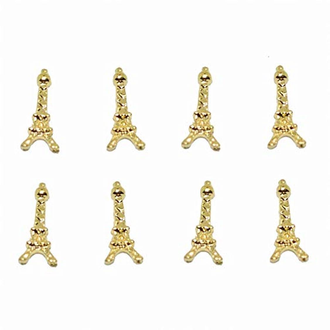 ローズ砂のクローン100ピース新しいゴールドエッフェル塔3Dネイルアート装飾合金ネイルチャーム、ネイルラインストーンネイル用品