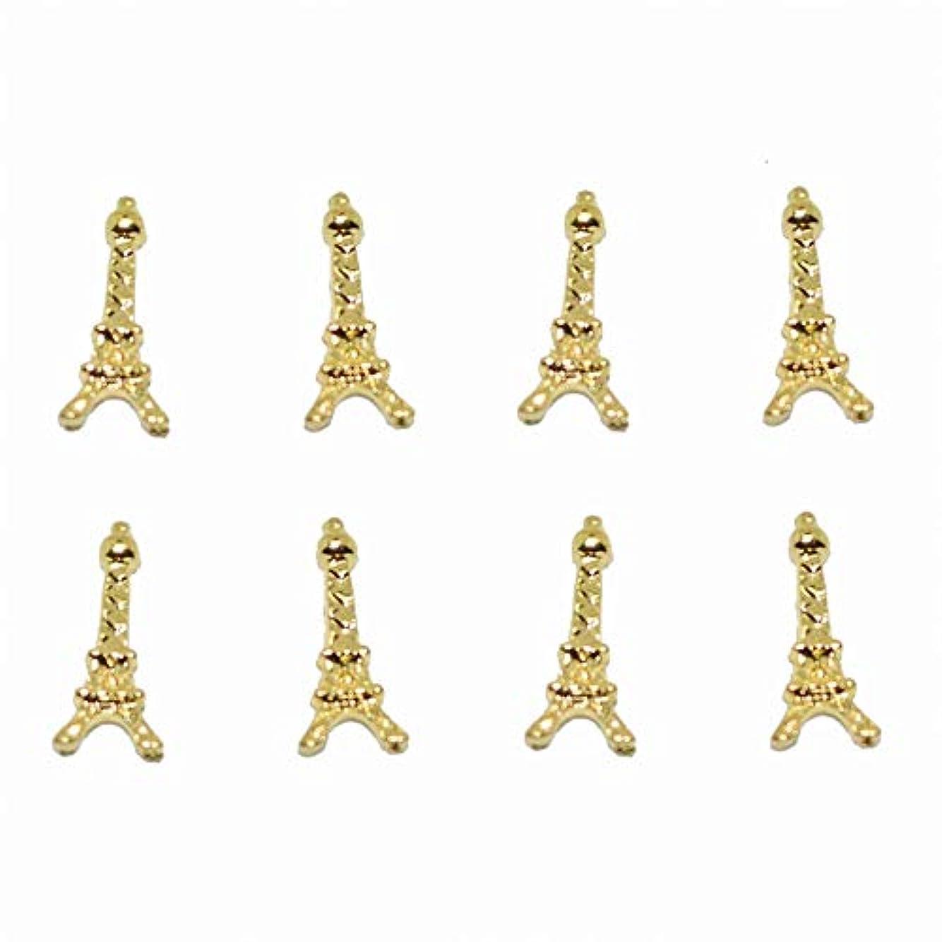 100ピース新しいゴールドエッフェル塔3Dネイルアート装飾合金ネイルチャーム、ネイルラインストーンネイル用品