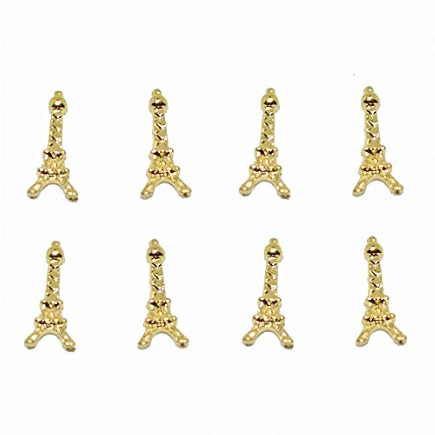 深さリテラシーの量100ピース新しいゴールドエッフェル塔3Dネイルアート装飾合金ネイルチャーム、ネイルラインストーンネイル用品