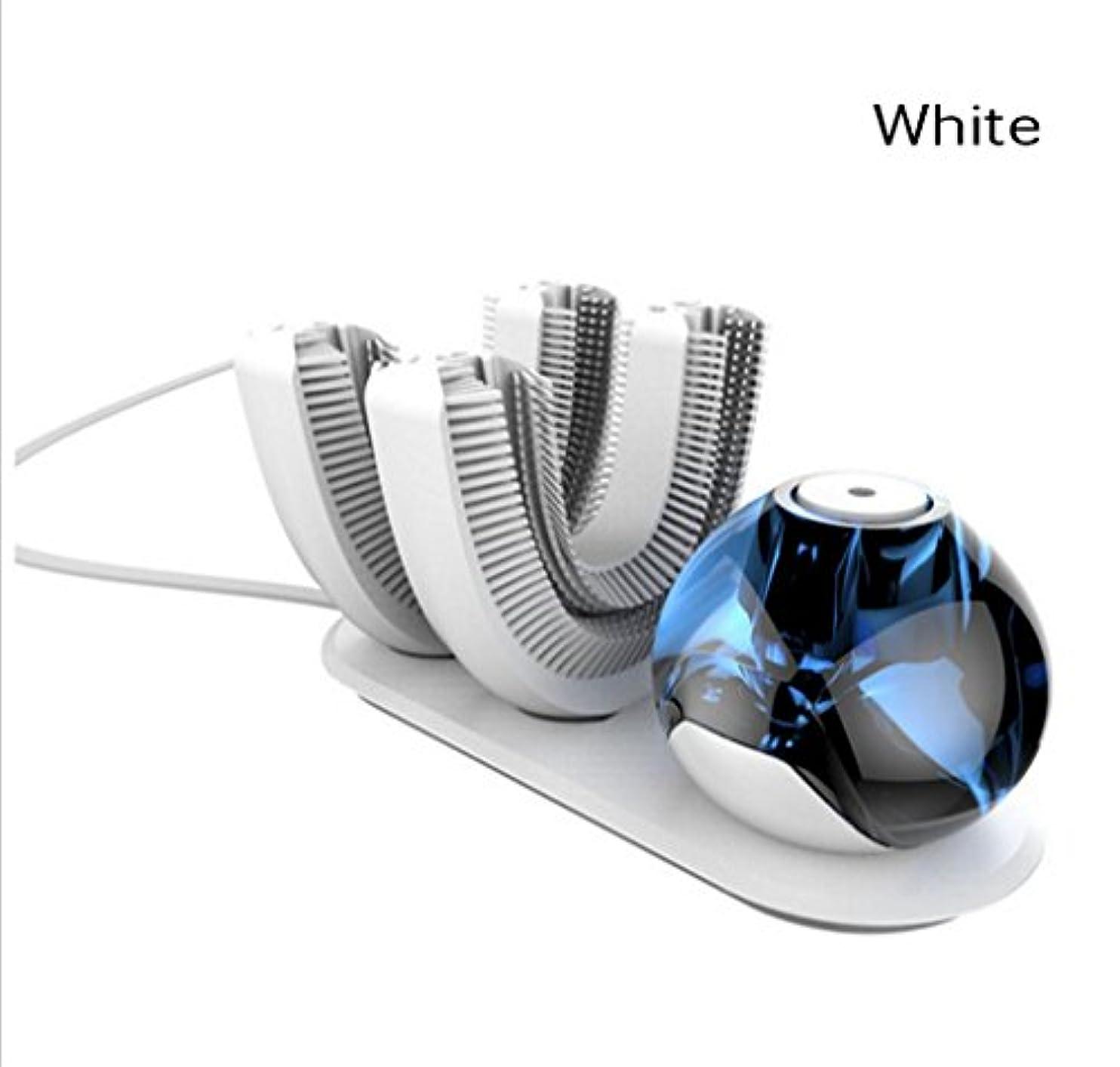 リゾート研磨スラダムNatood 歯ブラシのヘッドの2、怠惰なKibasuriによる自動歯ブラシは、 電気怠惰な電動歯ブラシ用ワイヤレス充電式360°自動歯ブラシを設計され、白 白