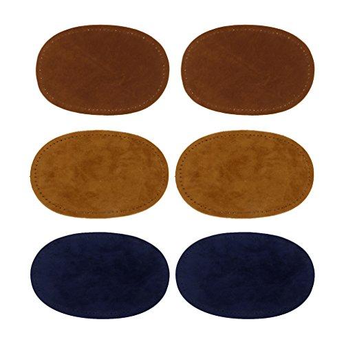 SONONIA 3組入り 楕円形 肘/膝用パッチ 手縫い ジーンズ 修理作業 修復用具 ブラウン/タ...