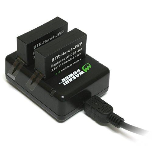 『GoPro HERO4専用 バッテリー2ケ+充電キット デュアルUSBチャージャー USBケーブル プラグ カーチャージャー WASABI POWER【並行輸入品】 GoPro HERO4, GoPro AHDBT-401, AHBBP-401』の1枚目の画像