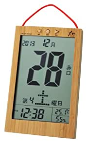 ADESSO(アデッソ) GREEN PRODUCTS 竹の日めくり電波時計 六曜表示 温度・湿度計付き ブラウン 8656BM