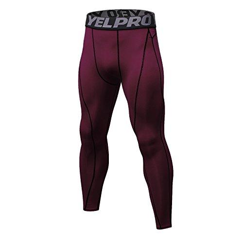 sillictor スポーツタイツ メンズ パワーストレッチ ロング アンダーウェア コンプレッション タイツ [UVカット + 吸汗速乾] yc1060レッド M