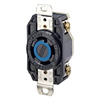 Leviton 2720 30 Amp, 250 Volt 3-Phase, Flush Mounting Locking Receptacle, Industrial Grade, Grounding, V-0-MAX, Black [並行輸入品]